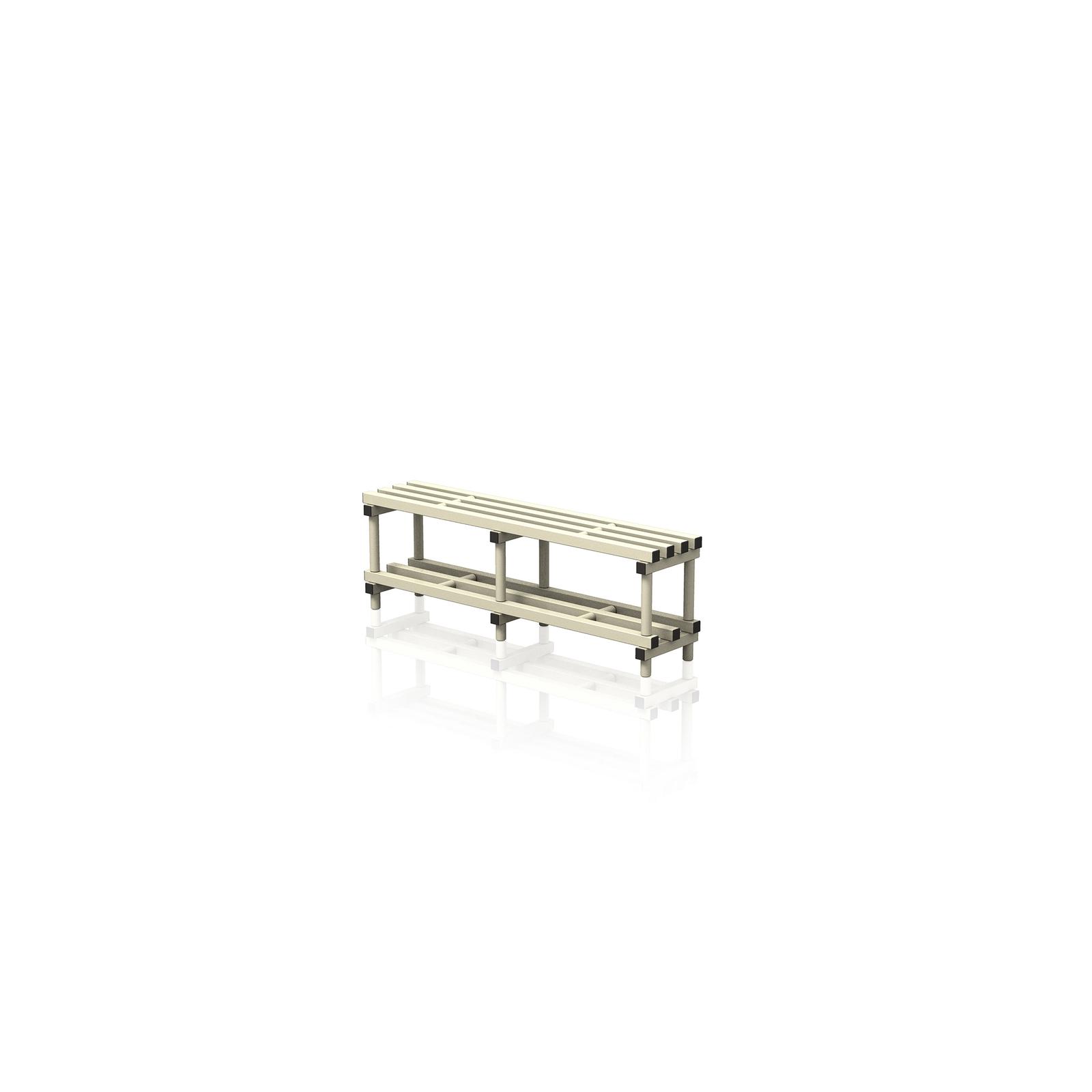 Bench With Bottom Shelf Medium Cream
