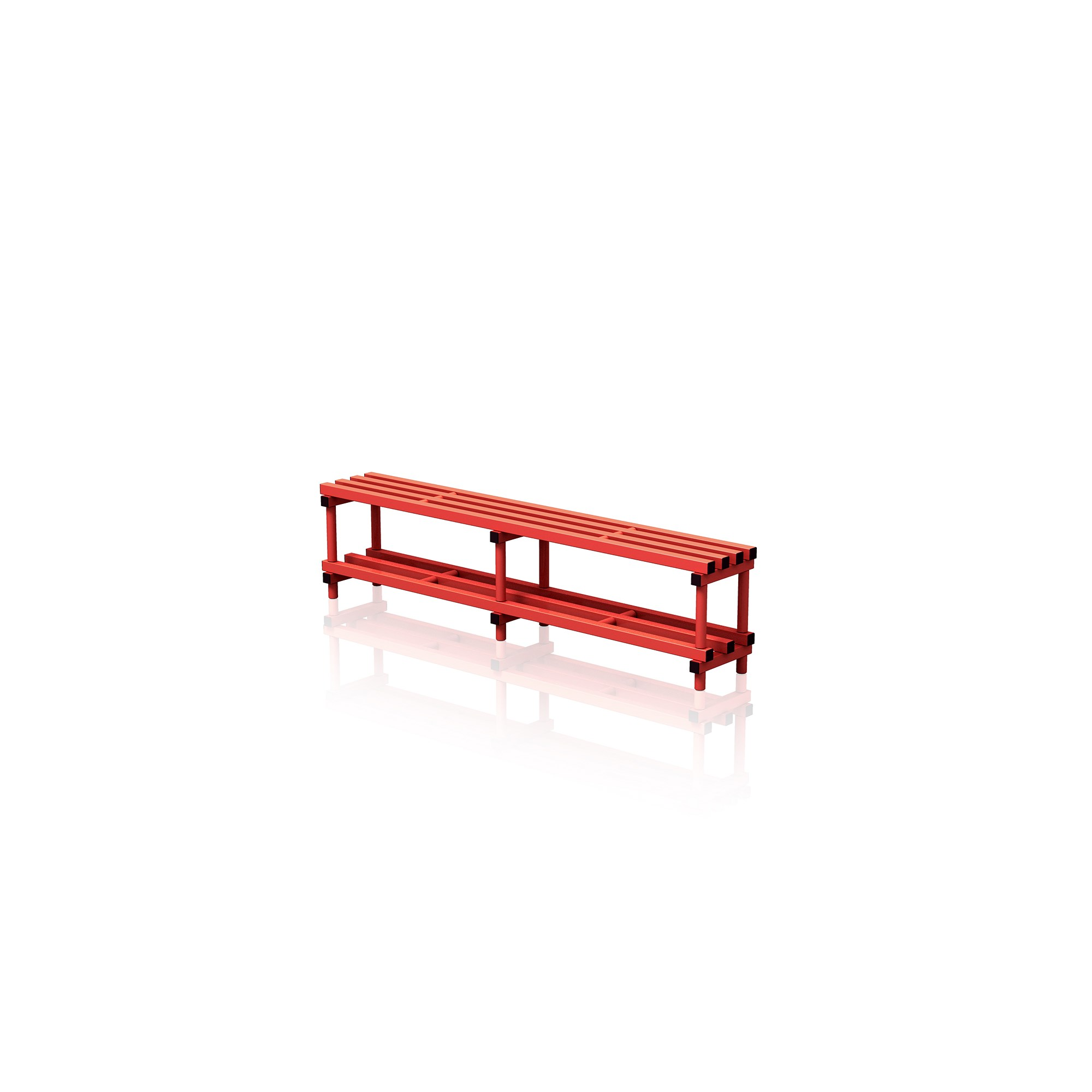 Bench With Bottom Shelf Large Red