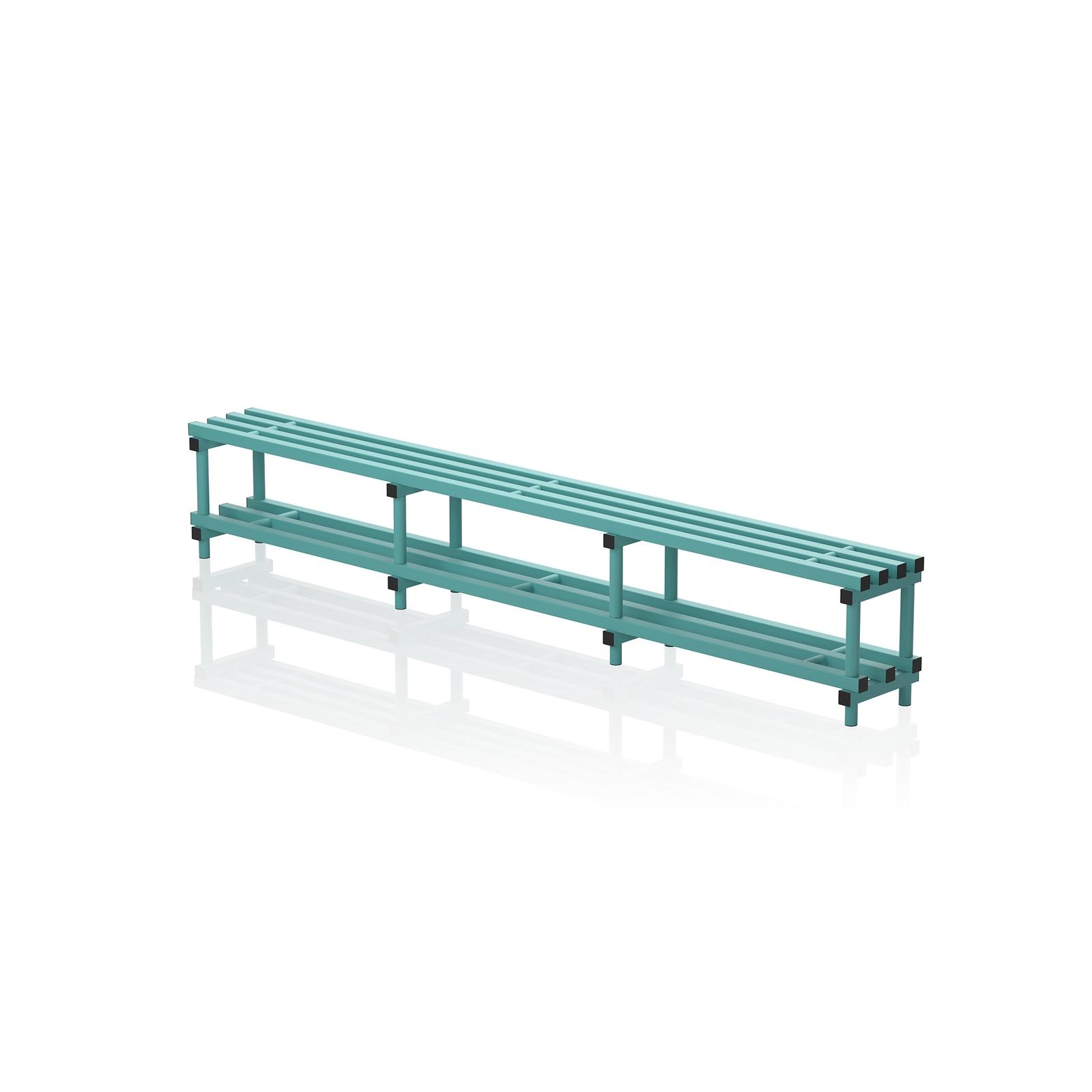 Bench With Bottom Shelf Xlarge Aqua