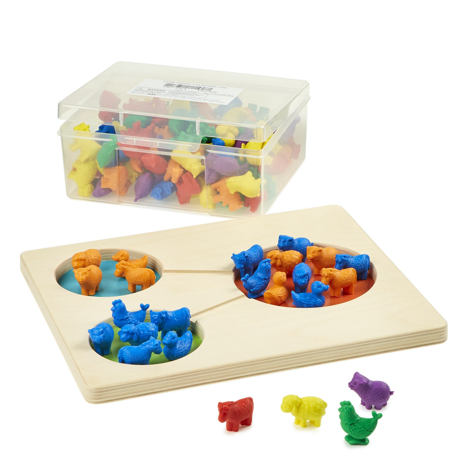 Wooden Part Part Whole Tray with free Counters