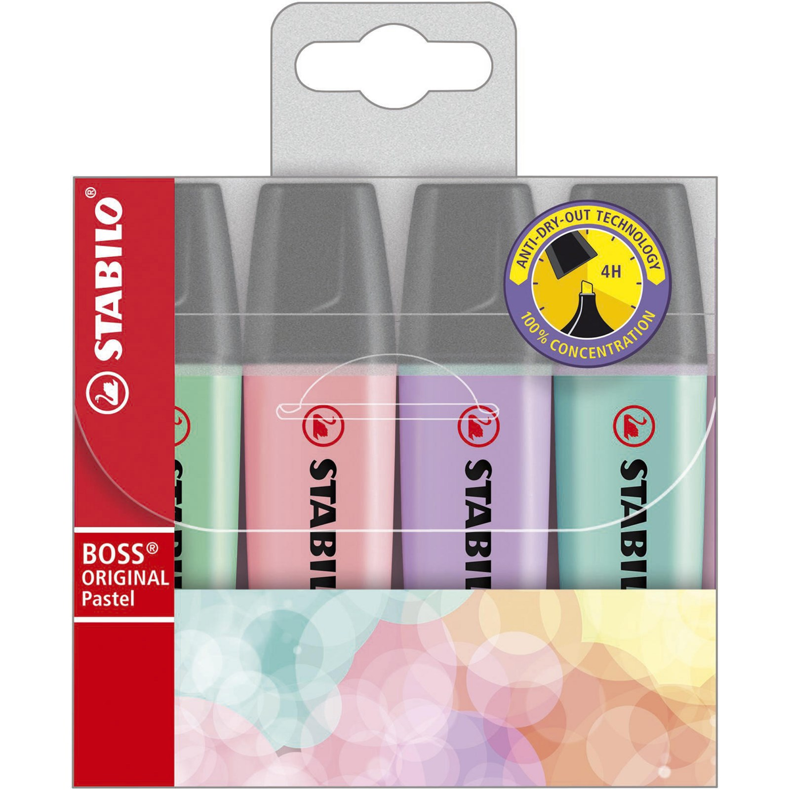 Stabilo BOSS® Pastel Highlighters Assorted Pack 4