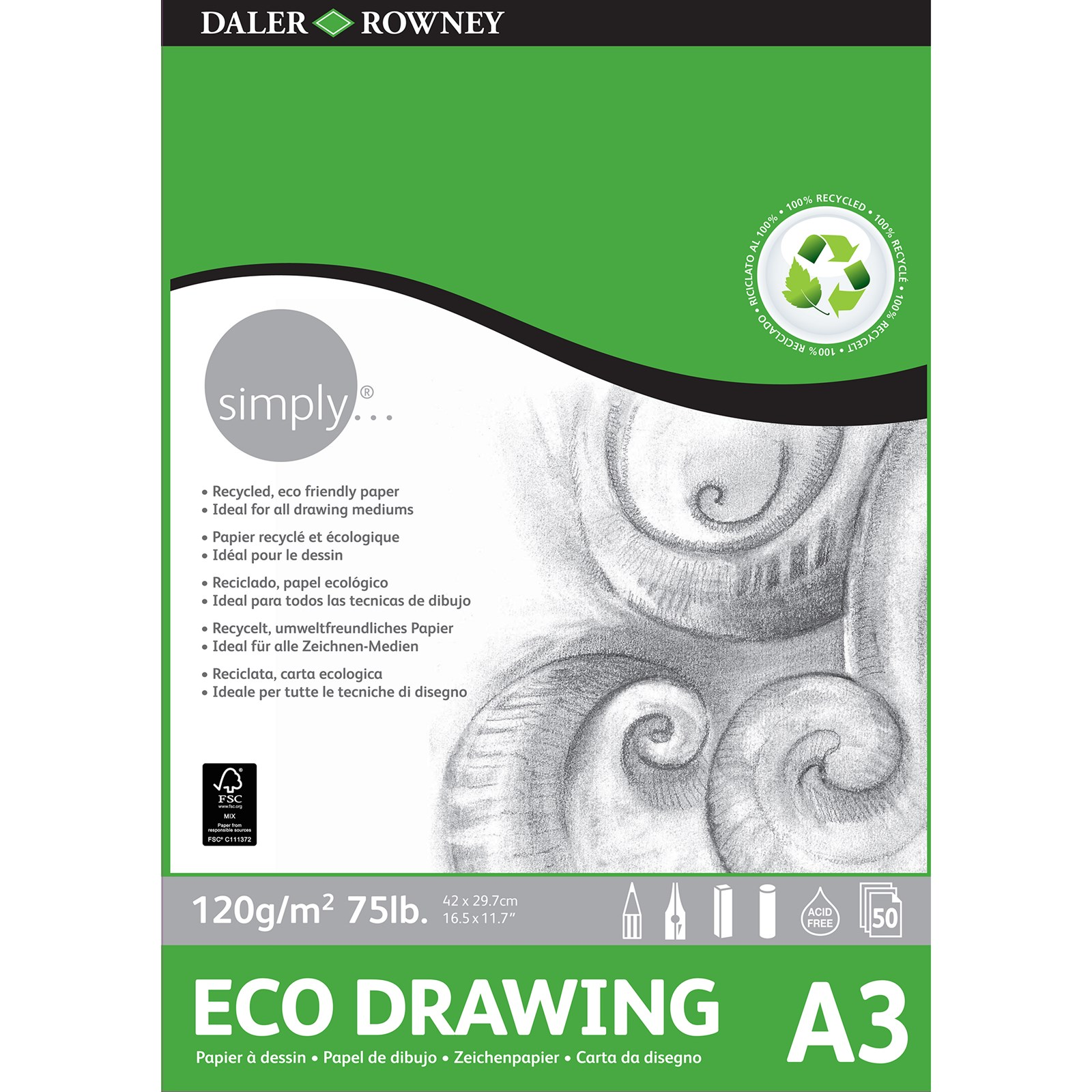 Simply Eco Drawing Pad - A3