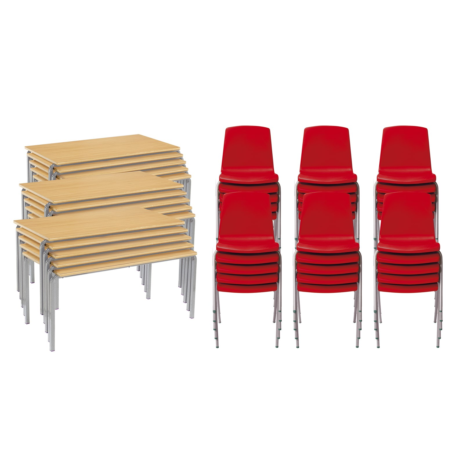 CM 15FW Bch Tables 30 Red Chairs 11-14yr