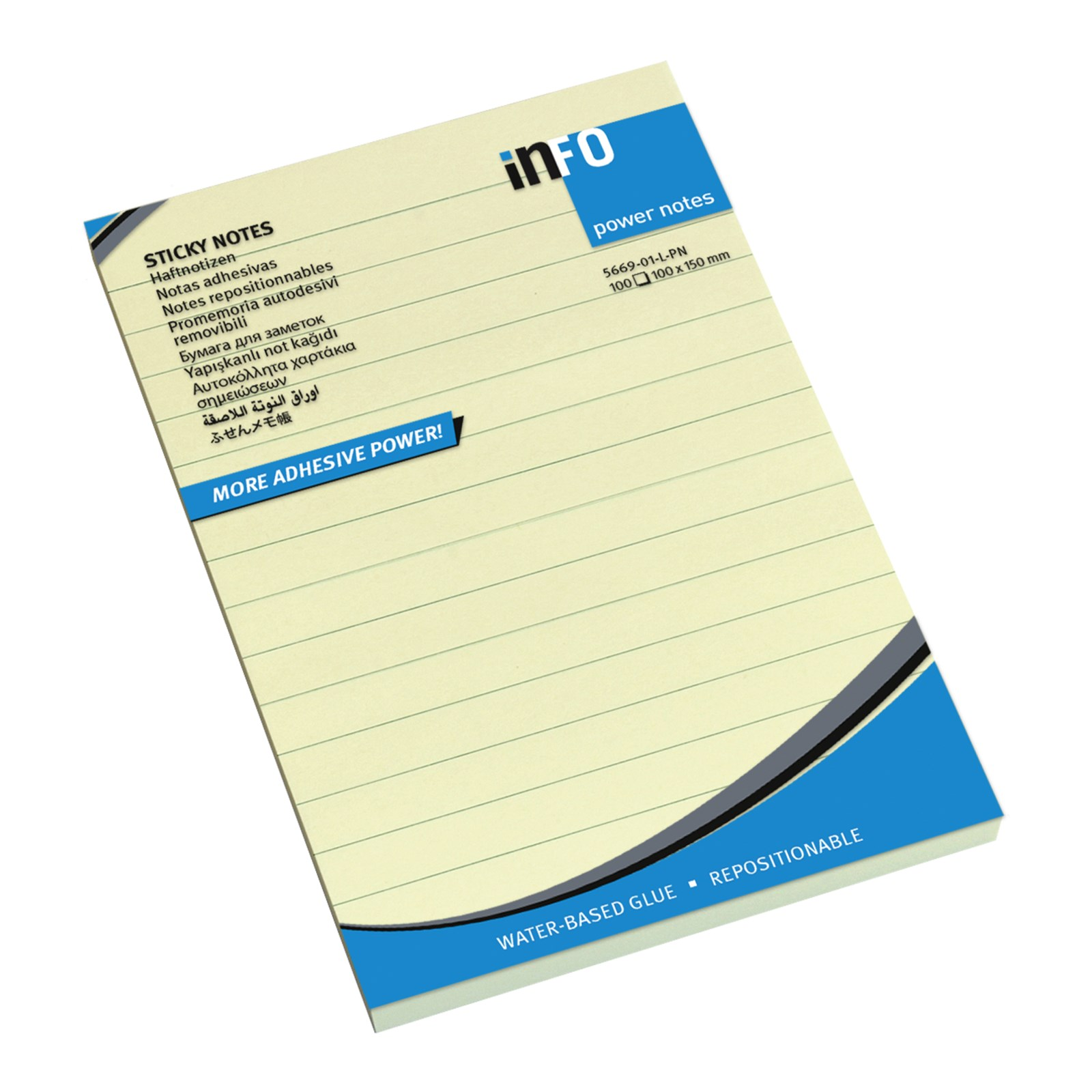 Sticky Notes Lined Yellow 100 x 150 - Pack 12