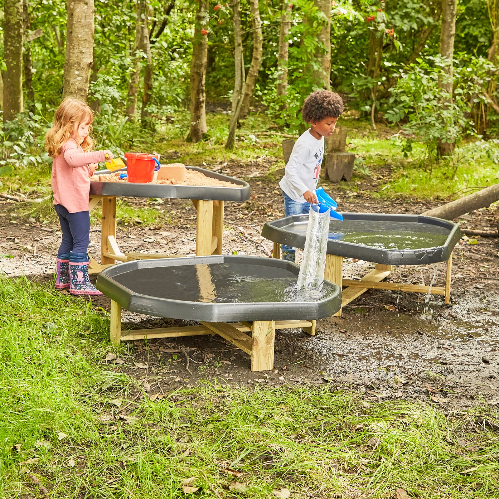 Outdoor Play Tray Stands Set 3