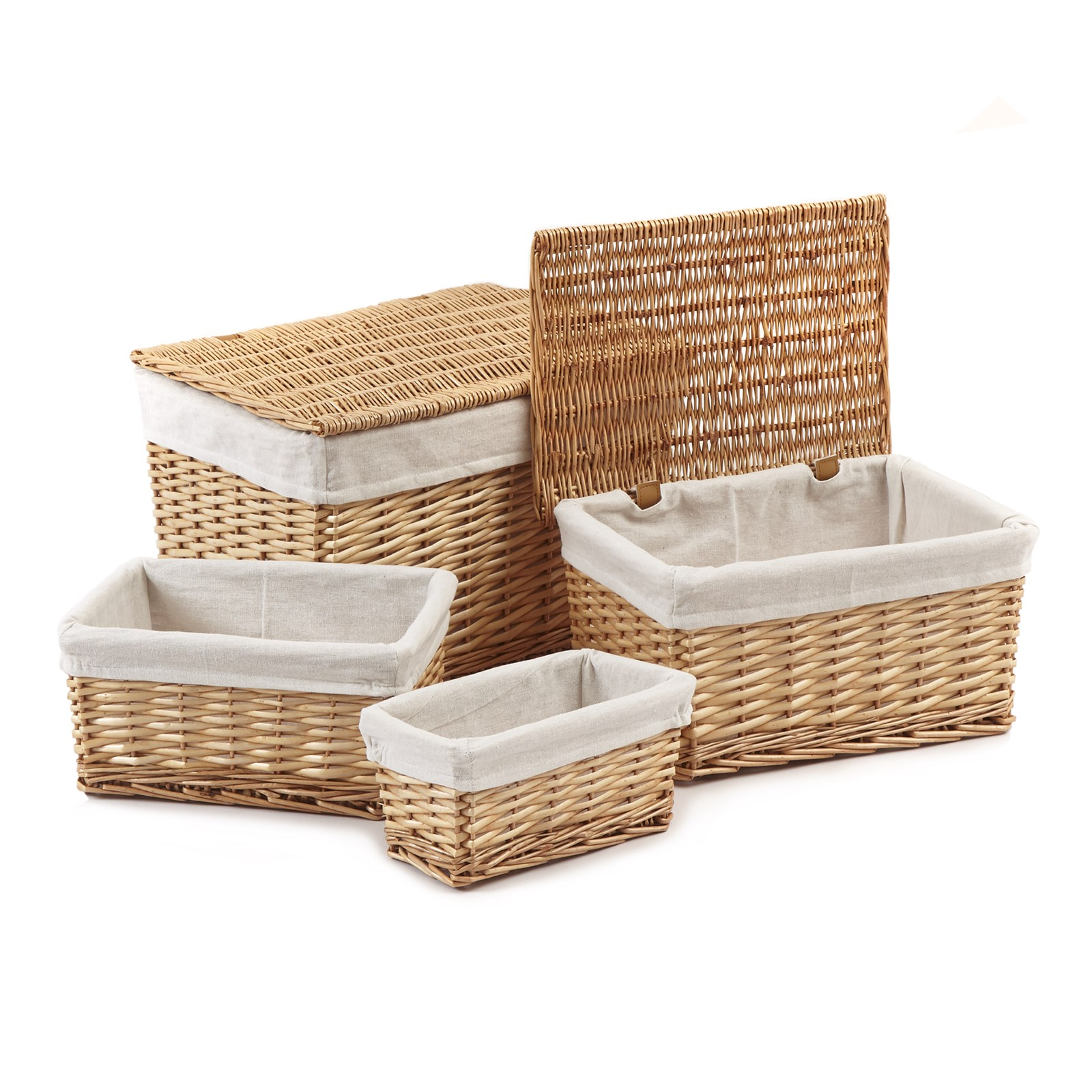 Wicker Set of 4 Hamper and Storage Boxes