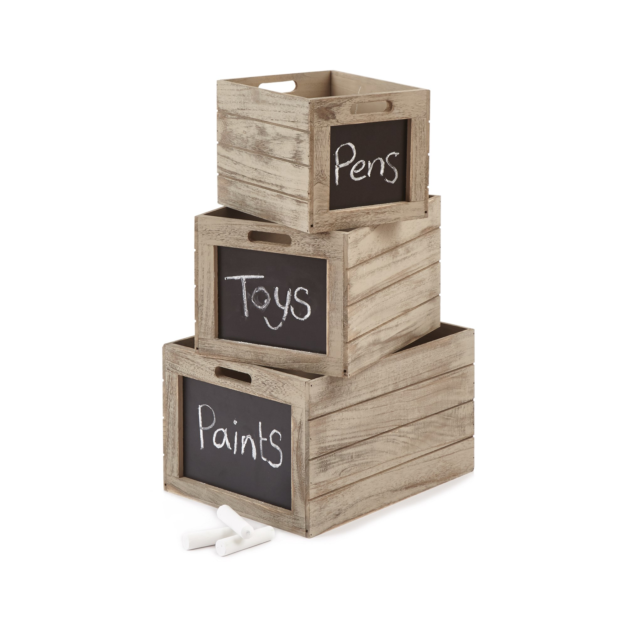 Wooden Boxes Chalkboard Front (Pack of 3)