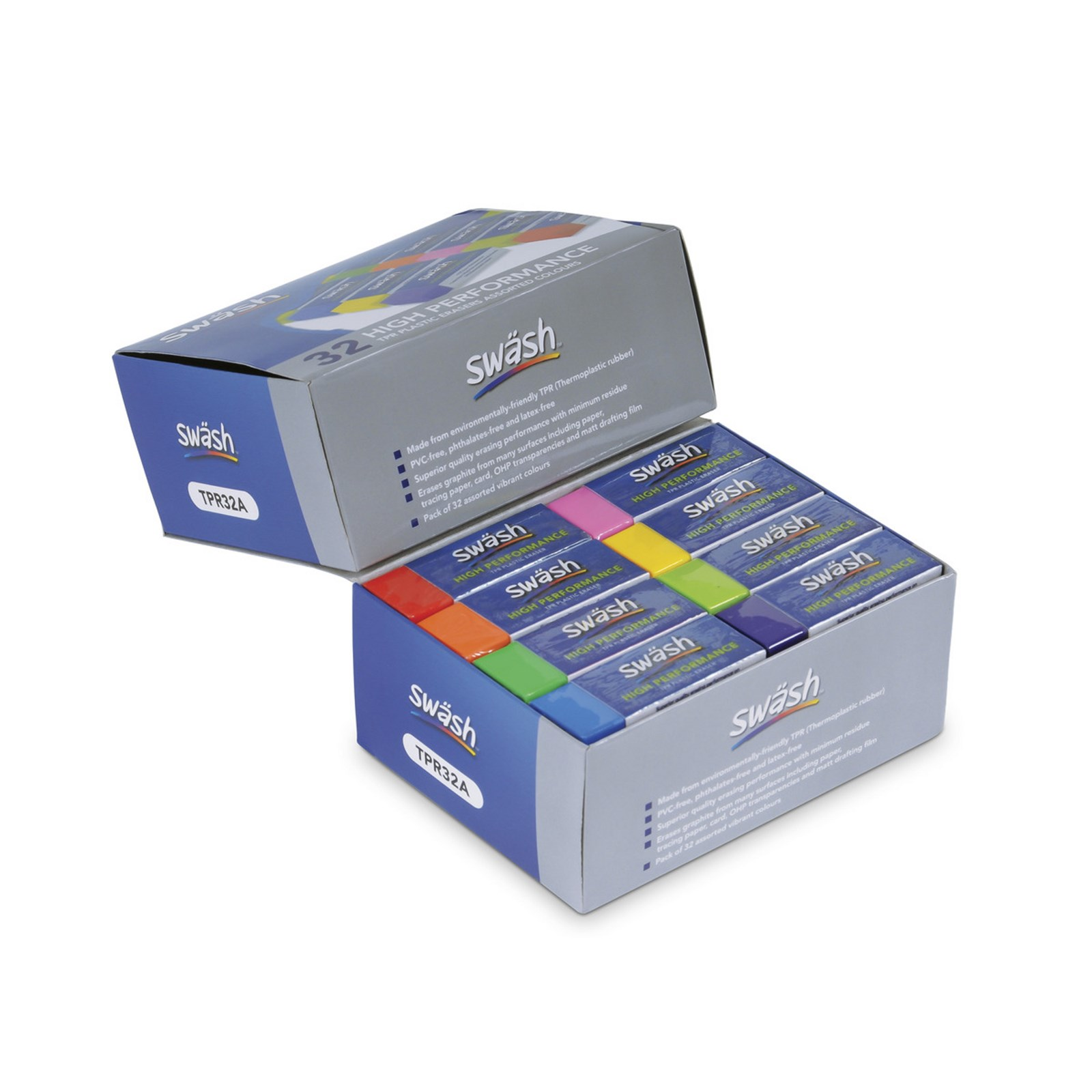 Erasers Plastic 8 Assorted Colours