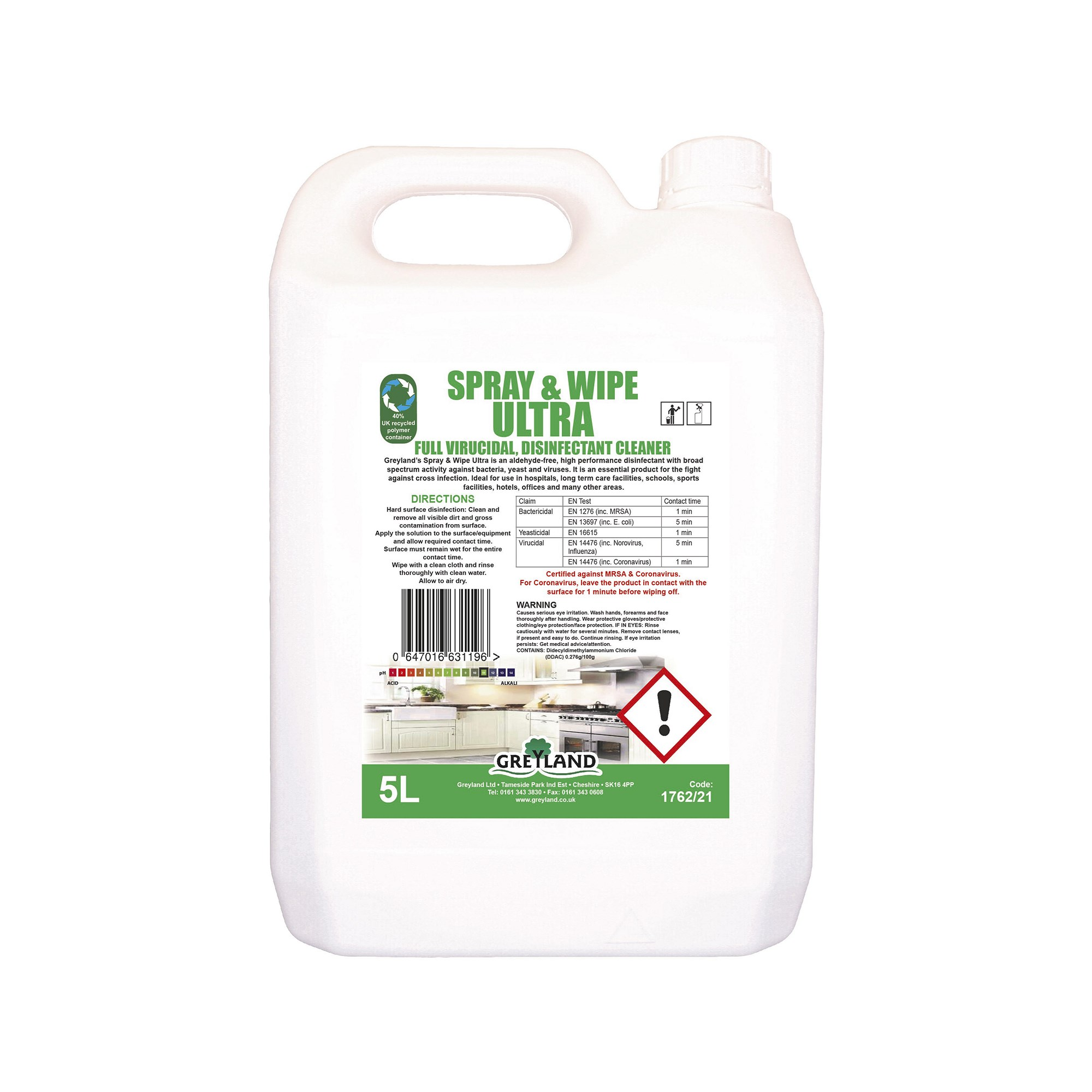 Greyland Spray and Wipe Virucidal Cleaner 5 Litres (Pack of 2)