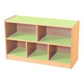 Green/Maple 5 Compartment Straight Unit