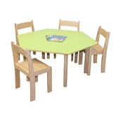 Pastel Hexagonal Table and 4 Chairs