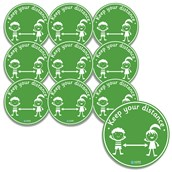 Keep Your Distance Floor Stickers from Hope Education - Pack of 10