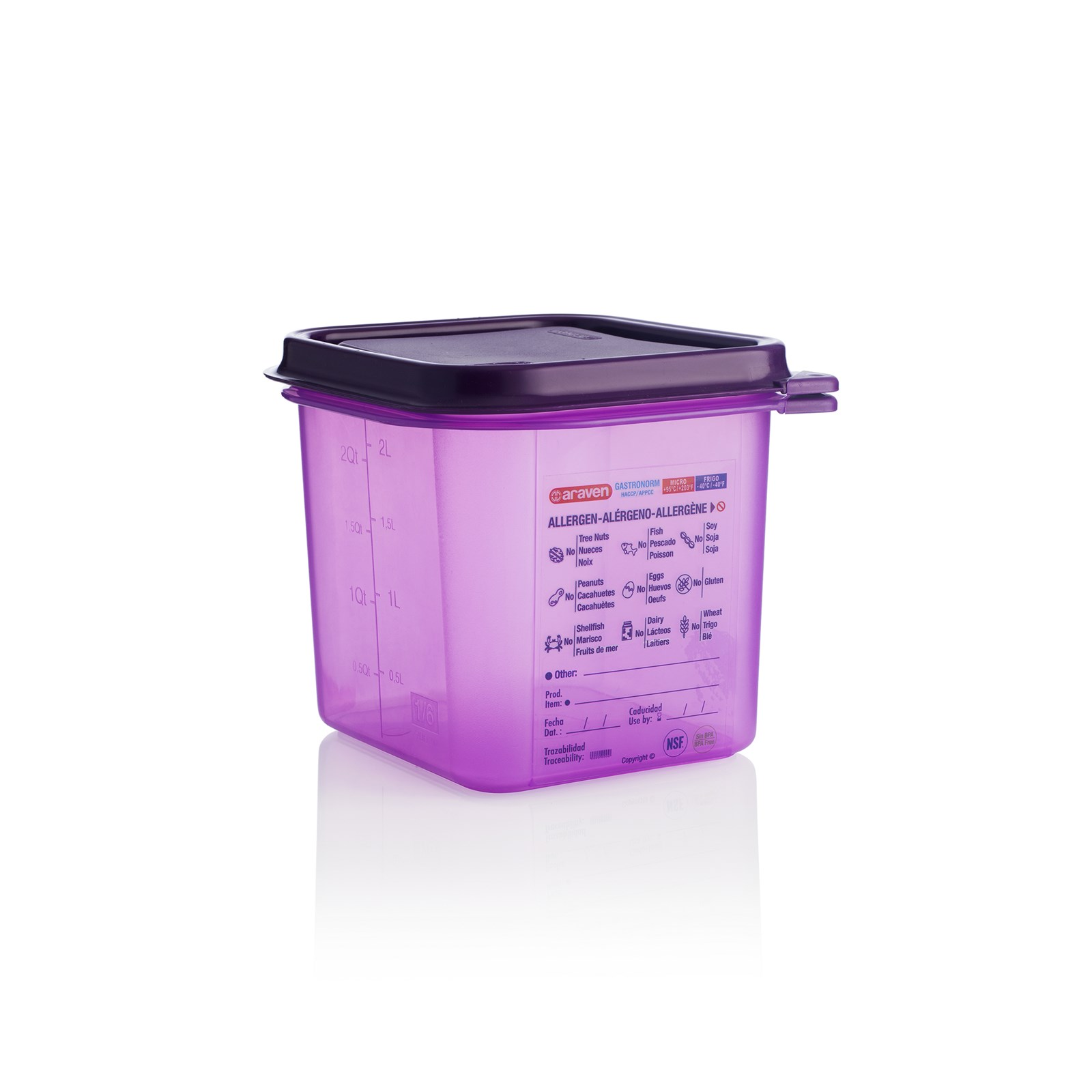 Allergen 1/6 Gastronorm Container with Lid 2.6L