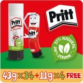 Original Pritt Glue Stick - 43g - Pack of 34 + 4 FREE 11g Pritt Sticks
