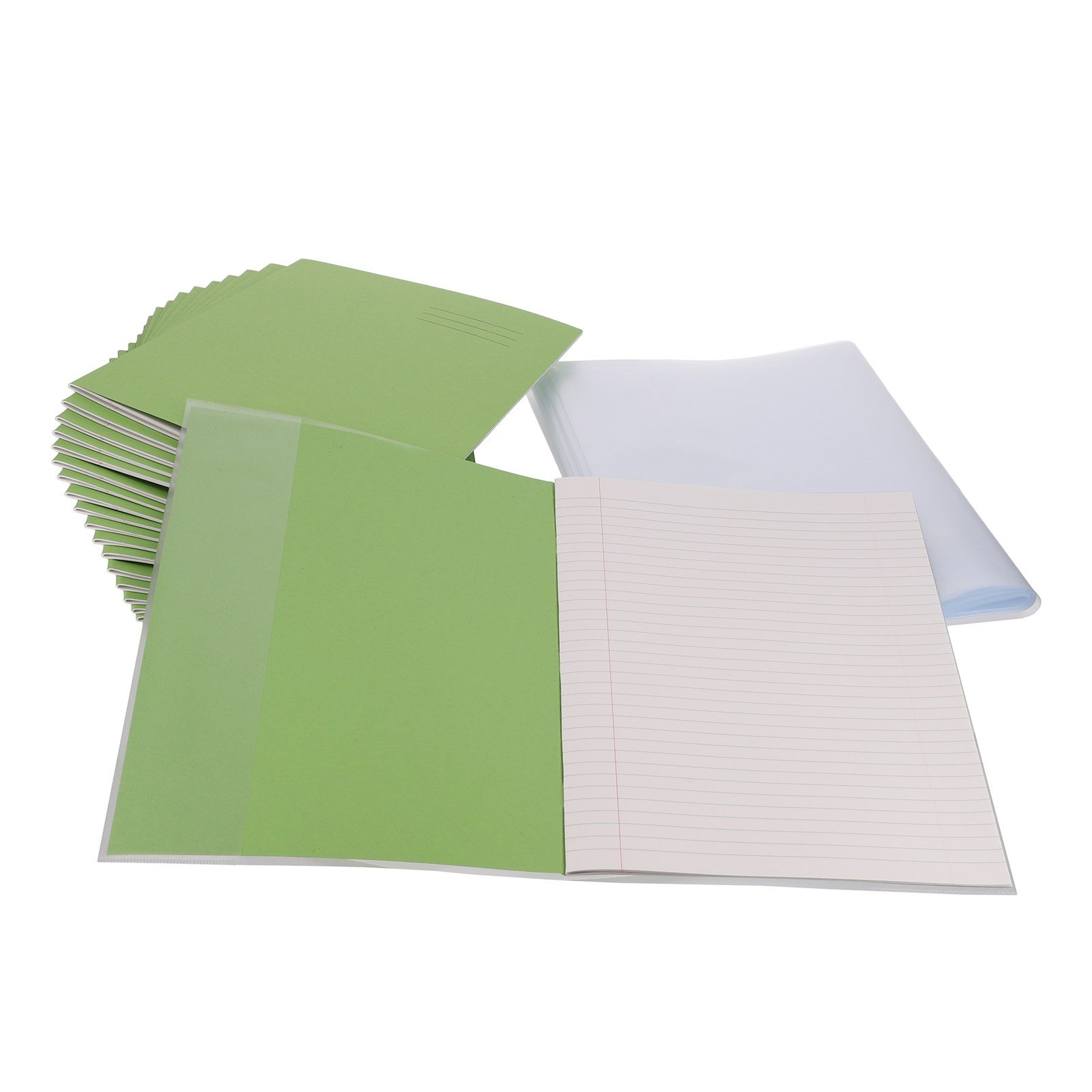 Classmates Light Green A4 Exercise Book 32-Page, 8mm Ruled With Margin Pack of 100 & Clear A4 Book Covering Pack of 100 **BUNDLE OFFER - SAVE UP TO
