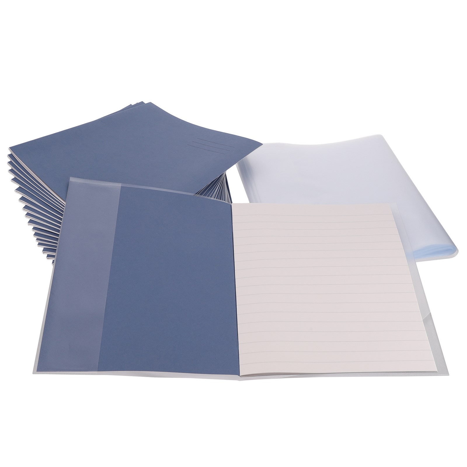 Classmates Blue A4 32 page 15mm Ruling Exercise Book Pack of 100 & Clear A4 Book Covering Pack of 100 **BUNDLE OFFER - SAVE UP TO