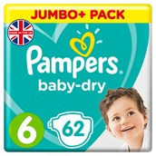Pampers Baby Dry Size 6 Jumbo+ Box 62