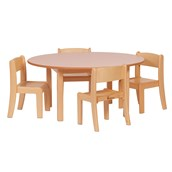 Circular Table & 4 Beech Stack Chairs