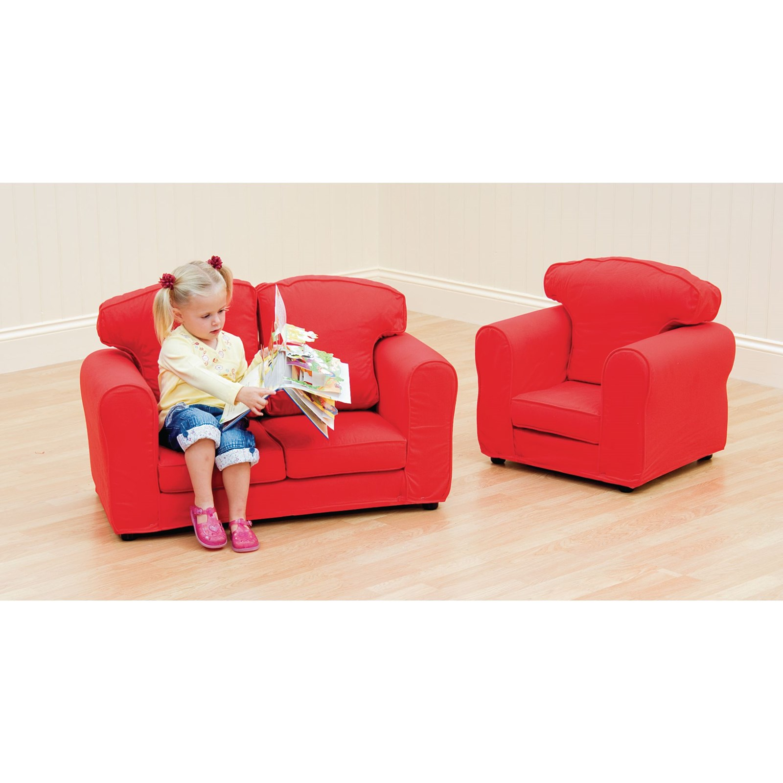 Rainbow Armchair (Removable Covers) - Red