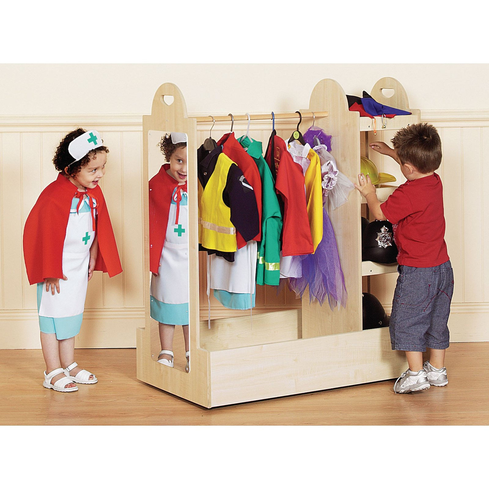Maple Costume Storage Trolley with Mirror