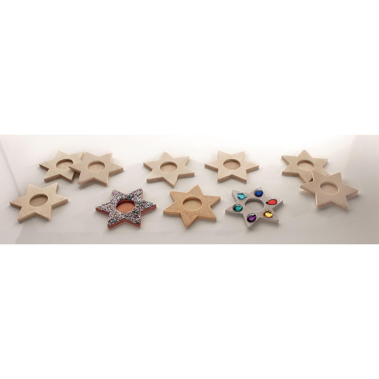 Wooden Tealight Stars Pack of 10