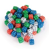Assorted Coloured Dice - Pack 100