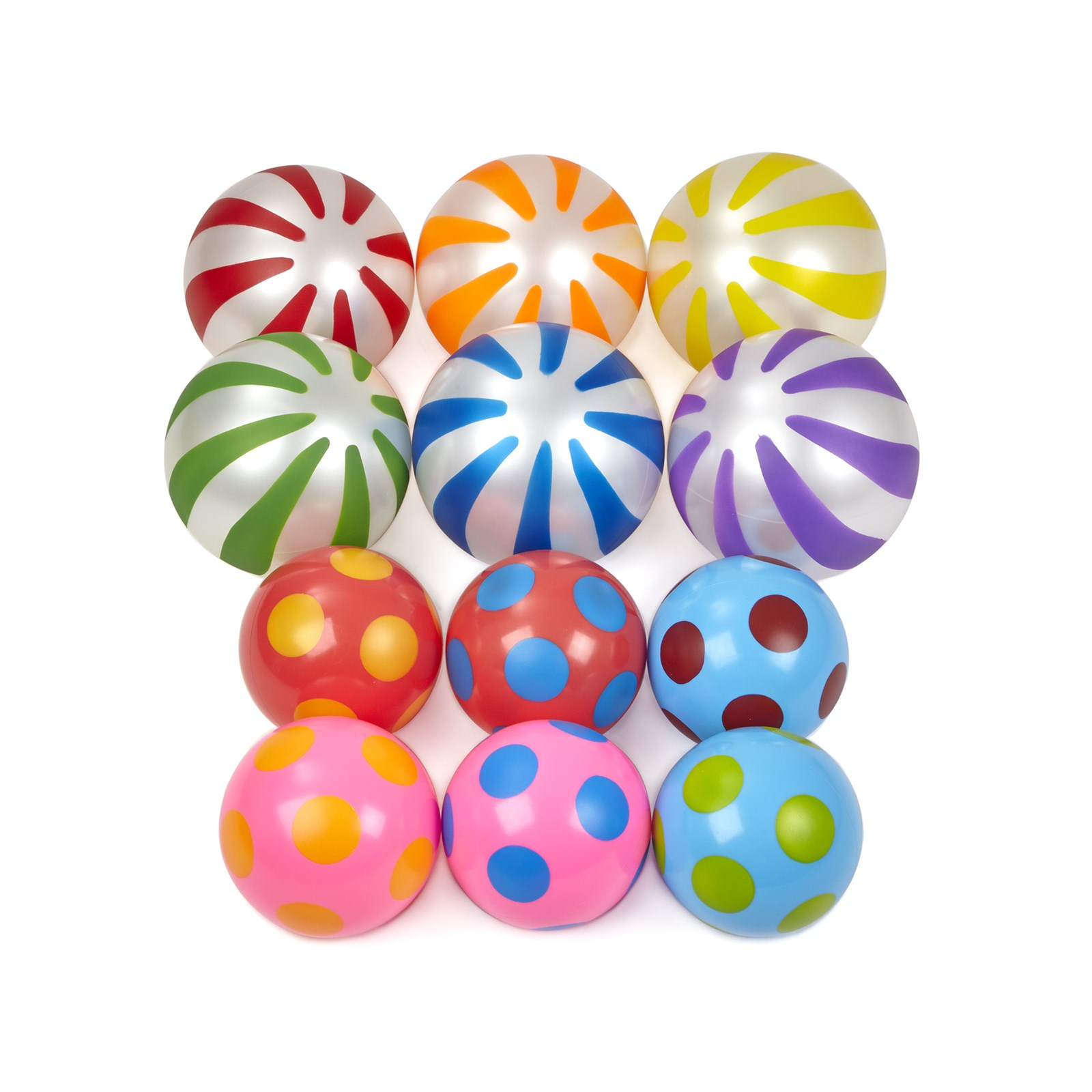Spots and Stripes Balls - Pack of 12