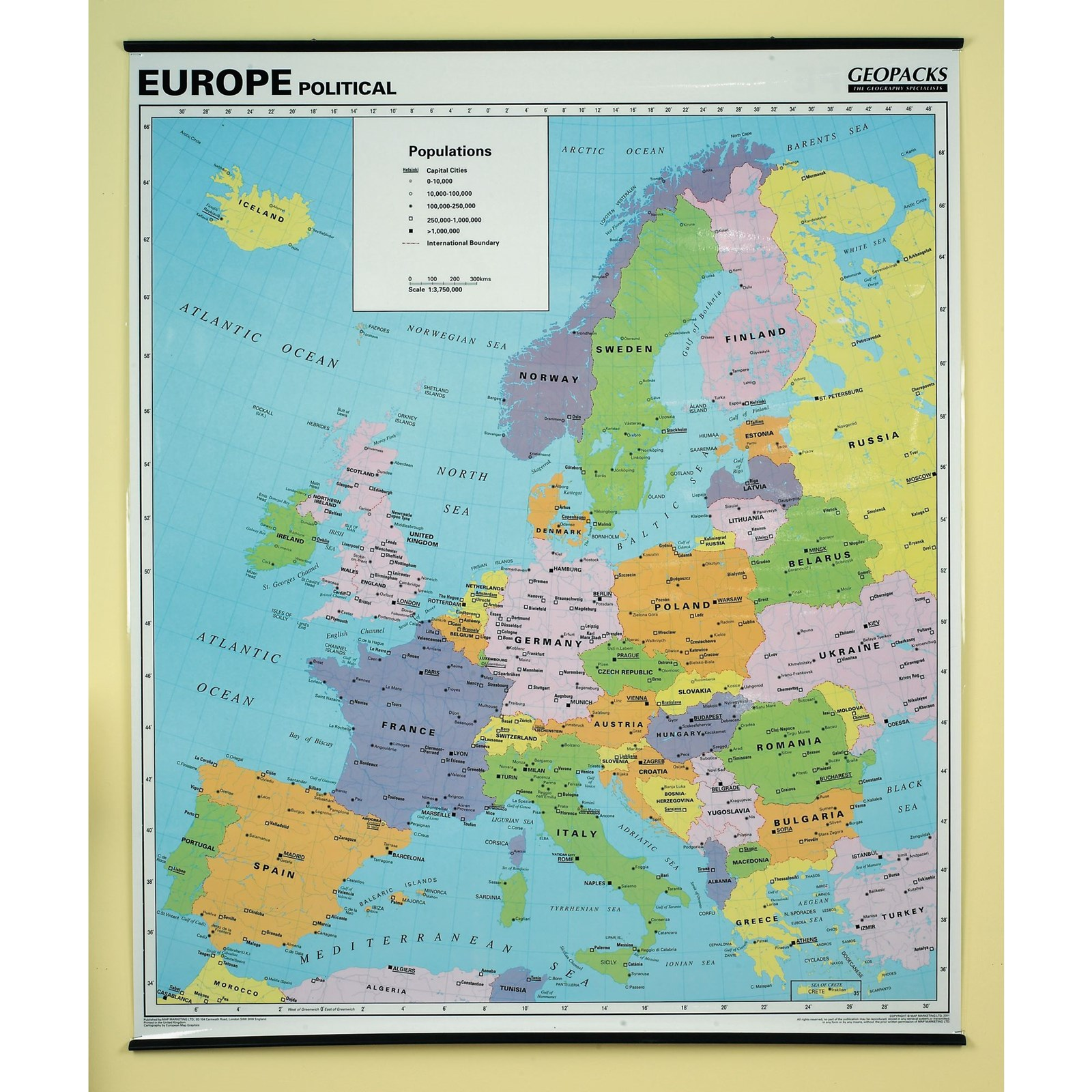 Map Of Europe With Scale.Dry Wipe Reversible Physical Political Wall Map Europe Gls