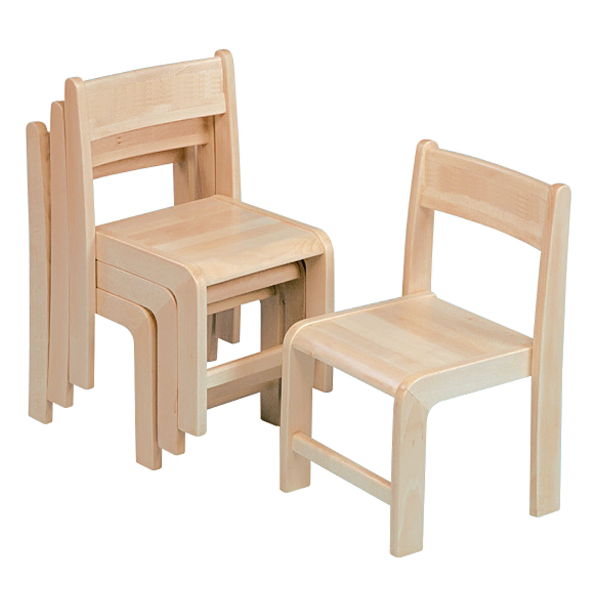 Stackable Wooden Chairs   Seat Height: 210mm Pack Of Four