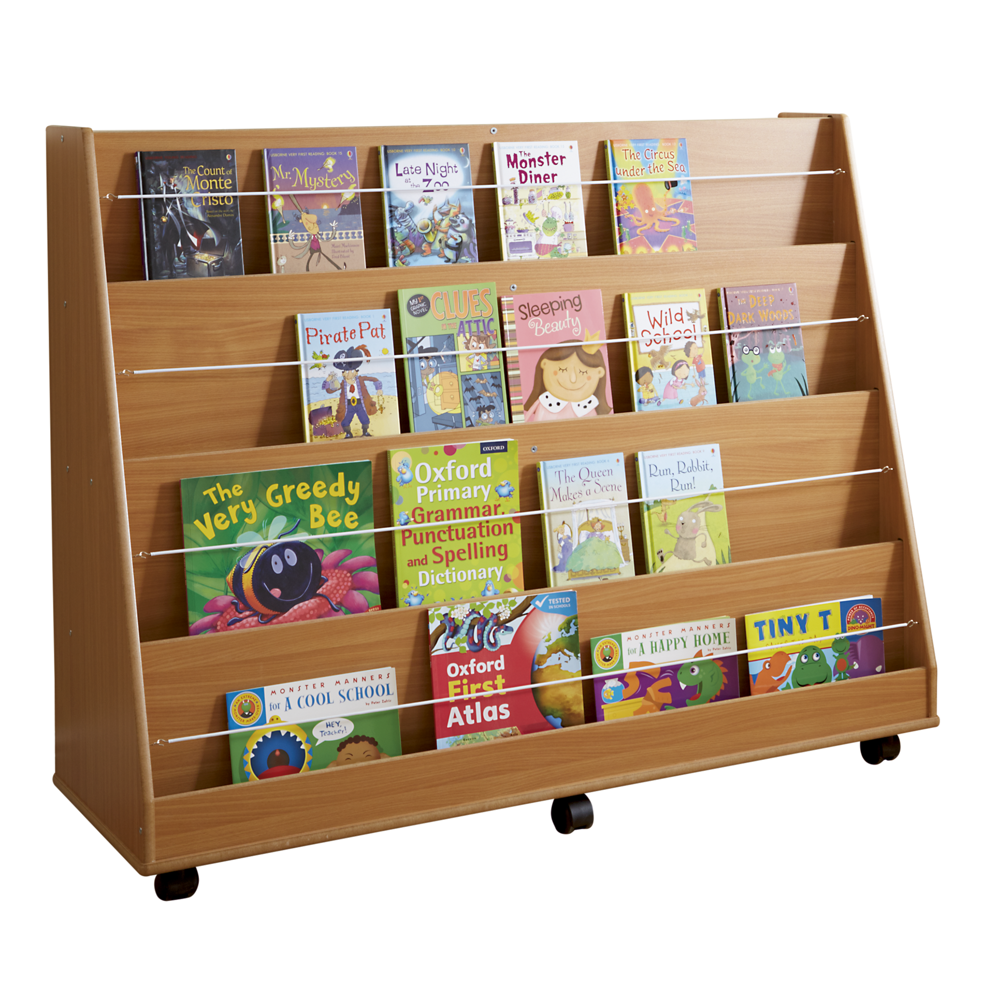 Galt Sloping Display Bookcase 985 X 445 X 1220mm, Moveable Castors   Beech